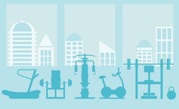Интерьер тренажерного зала со спортивным оборудованием и кардиотренажерами, велотренажер, беговые дорожки, эллиптические тренажеры. концепция фитнеса со спортивным клубом в плоском стиле. синий силуэт