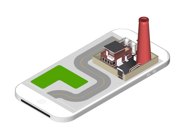 Здание завода с трубкой, цистернами, забором с шлагбаумом - стоит на экране смартфона. векторная иллюстрация изолированных