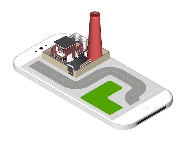 スマートフォンの画面上に立って - パイプ、水槽、障壁とフェンスで工場建物。分離したベクトル図