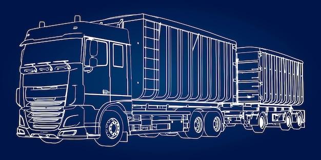トレーラーアイソメ図と大型トラック