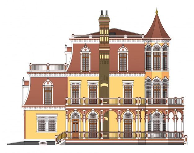 ビクトリア朝様式の図の古い家