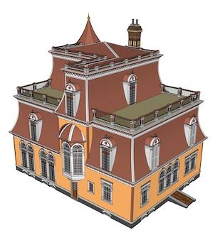 ビクトリア朝様式の等角投影図の古い家