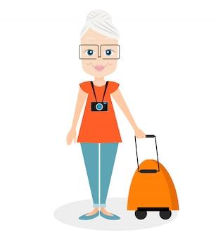 Бабушка с рюкзаком путешествует. путешествие с рюкзаком.