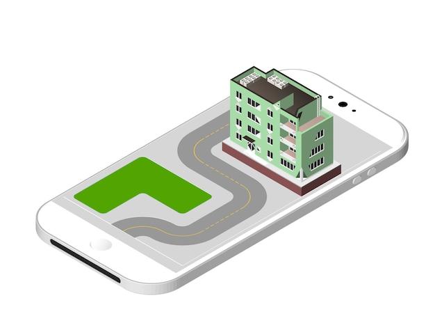 分離したベクトル図モダンな家窓とエアコン付きの都会的な建物