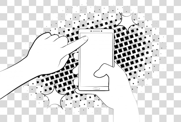 ハーフトーン影付きの漫画の電話。スマートフォンを持っている手。電話画面でページにサインインします。