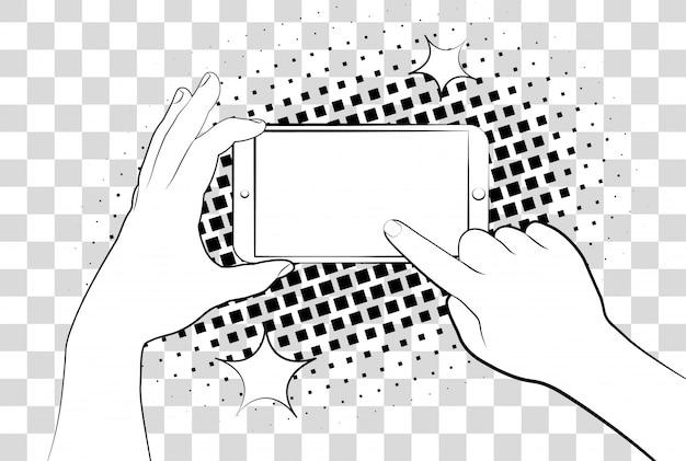 ハーフトーン影付きの漫画の電話。スマートフォンを持っている手。