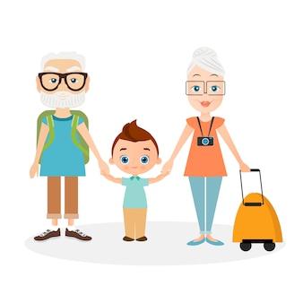 孫と祖父母祖父と祖母のパックサック旅行。ナップザックと一緒に旅行。