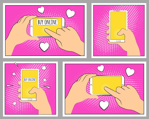 Установите комический телефон с тенями полутонов. рука держа смартфон. поп-арт в стиле ретро.