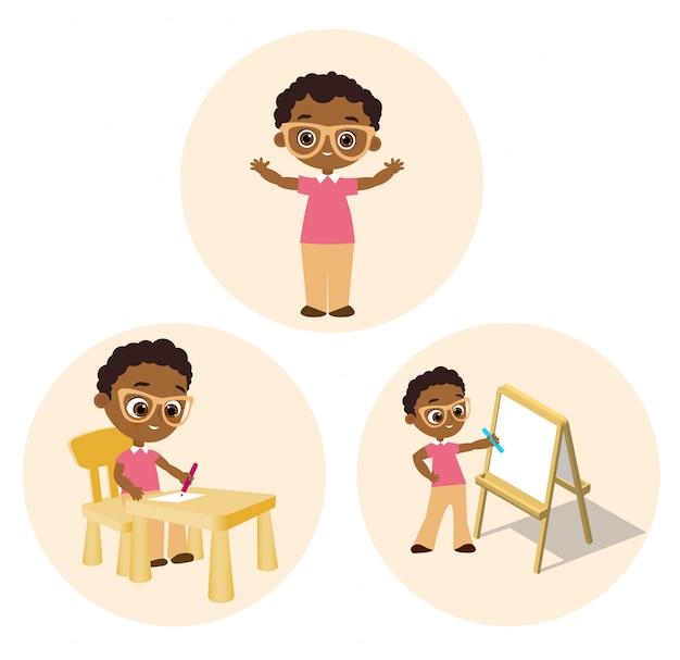 Установите афро-американского мальчика в очках. векторные иллюстрации