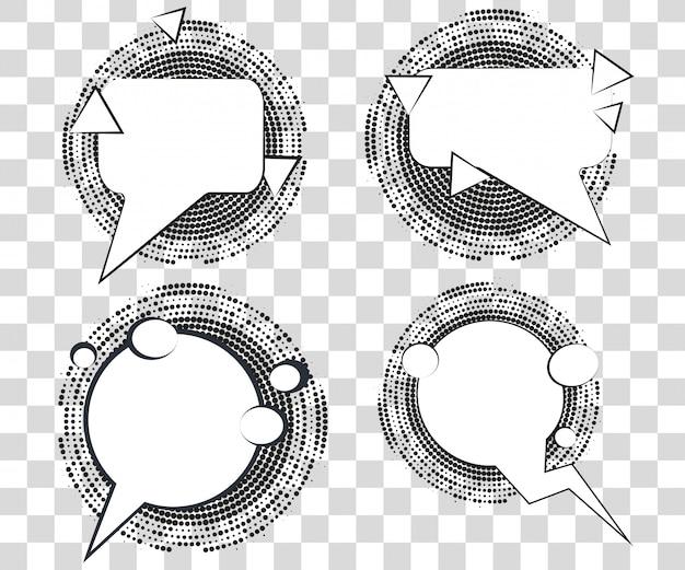 ハーフトーンの三角形の影でコミック吹き出しを設定します。