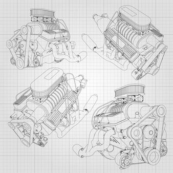 強力な自動車エンジンのいくつかの種類のセット。エンジンはケージの白いシートに黒い線で描かれています