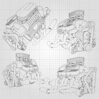 Набор из нескольких видов мощного автомобильного двигателя. двигатель нарисован с черными линиями на белом листе в клетке