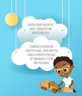 おもちゃの車を持つアフリカ系アメリカ人の少年。車をしている少年。車、空に浮かぶ雲のペーパーアートをベクトルします。テンプレート広告