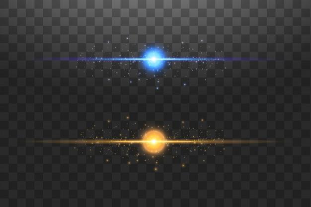 Абстрактные линии сини и золота освещают на прозрачной иллюстрации предпосылки. яркая вспышка света на линии