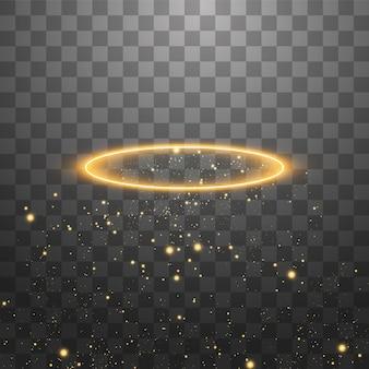 ゴールデンエンジェルリング。黒の透明な背景に分離