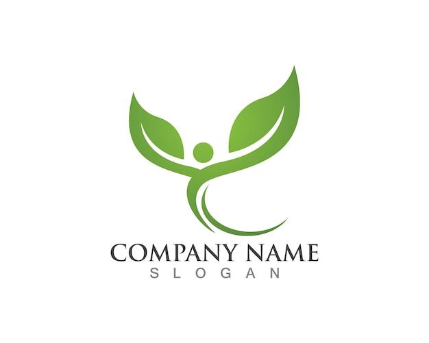 木の葉のロゴ、環境にやさしいコンセプト