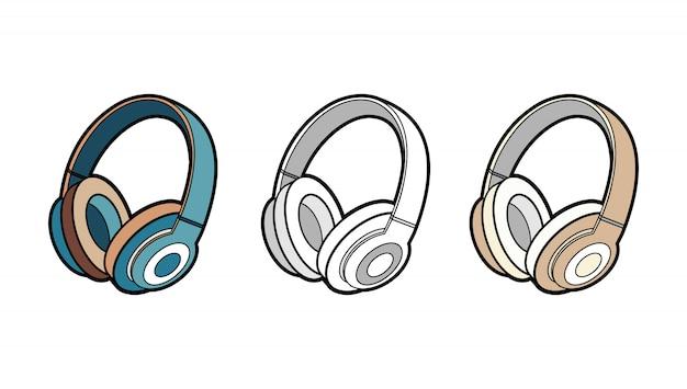 ヘッドフォンワイヤレスベクトル分離セット。ミニマリストスタイルの若者のファッション流行に敏感なクールなヘッドフォンのイラスト。