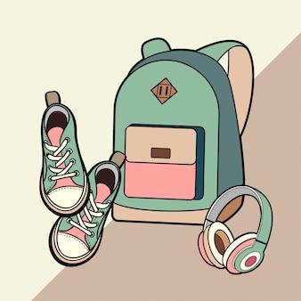 Рюкзак, кроссовки и наушники вектор изолированных набор.