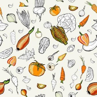 手描き模様の野菜。