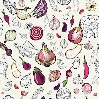 野菜のシームレスなピンク手描き模様。ベジタリアンヒップスターのイラスト。色野菜の手描きの背景パターン。