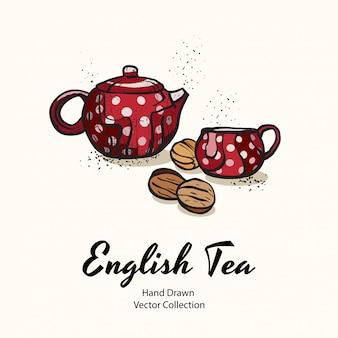 Красный чайник и чашка с белым горошком и орехами печенья