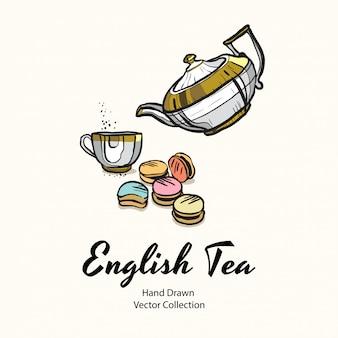 Золотой чайник, чашка и миндальное печенье