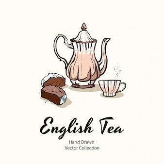 Розовый чайник, чашка и кекс