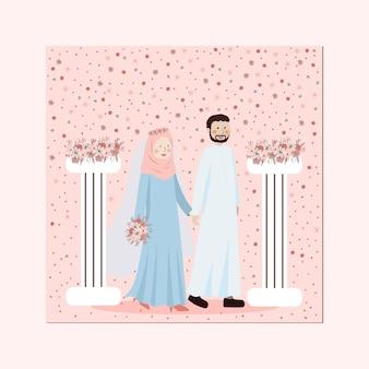 ピンクの桃の花の柱列の花輪