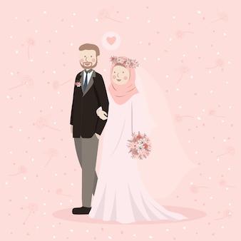 一緒に歩いて結婚式の服装でかわいいイスラム教徒のカップル