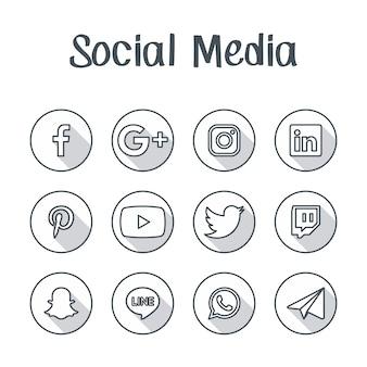 ソーシャルメディアアイコンボタン