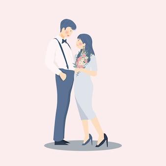 Сладкая романтическая влюбленная пара обнимает и обнимает друг друга в синем цвете