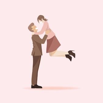 かわいいロマンチックなカップルの漫画のキャラクター、女性を持ち上げる男、ガールフレンドはボーイフレンドのコンセプトにジャンプ