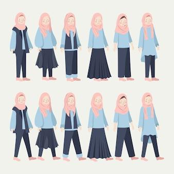 さまざまなヒジャーブ少女カジュアルな毎日の服イラストセット