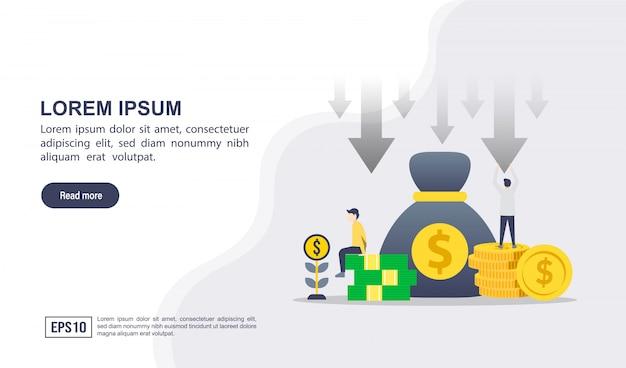 Векторная иллюстрация концепции снижения затрат с характером