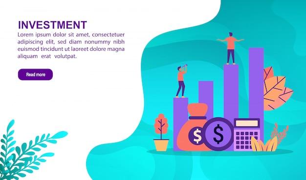 Инвестиционная концепция иллюстрации с характером. шаблон целевой страницы