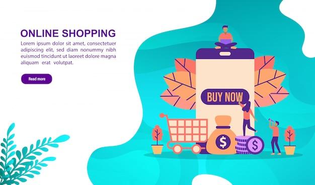 文字でオンラインショッピングの図の概念。ランディングページテンプレート