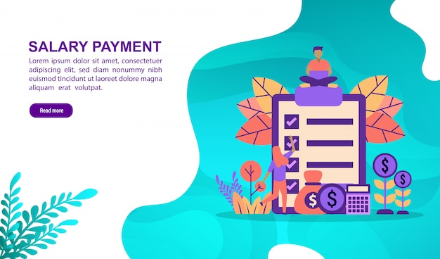 Векторная иллюстрация концепции выплаты заработной платы с характером. шаблон целевой страницы