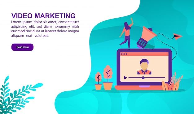 キャラクターとビデオマーケティングの図の概念。ランディングページテンプレート