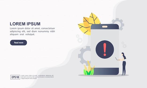ランディングページのテンプレート。アプリケーションエラーの概念注意メッセージバブル。スパムデータ、安全でない接続、詐欺、ウイルスに関する警告アラート