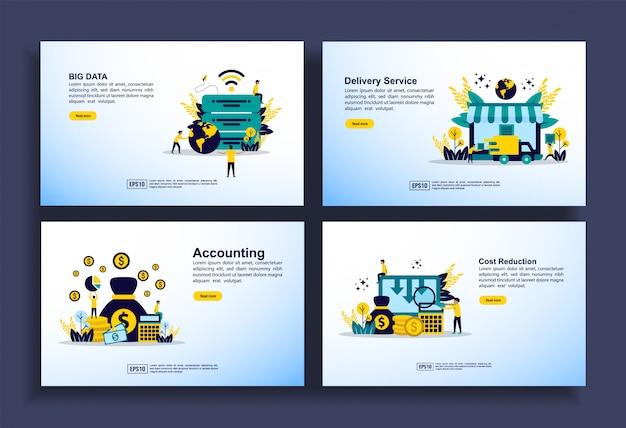 ビジネス、ビッグデータ、配信サービス、会計、コスト削減のためのモダンなフラットデザインテンプレートのセット