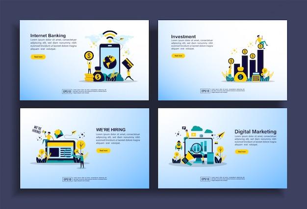 ビジネス、インターネットバンキング、投資、雇用、デジタルマーケティングのためのモダンなフラットデザインテンプレートのセット