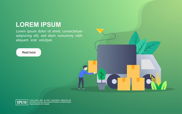 Иллюстрация концепция доставки. веб-шаблон целевой страницы или интернет-реклама
