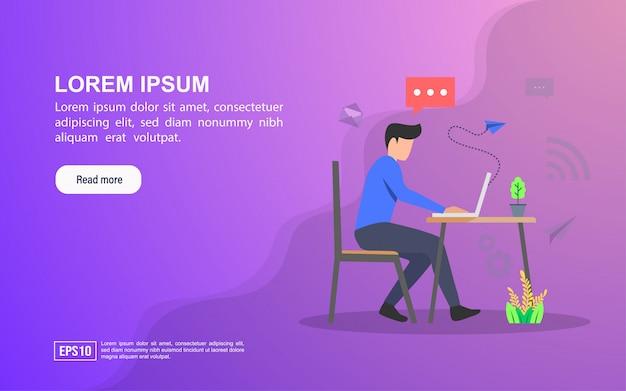 Иллюстрация концепция сервиса. веб-шаблон целевой страницы или интернет-реклама