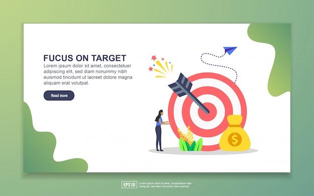 Шаблон целевой страницы с фокусом на цель. современная плоская концепция дизайна веб-страницы для сайта и мобильного сайта