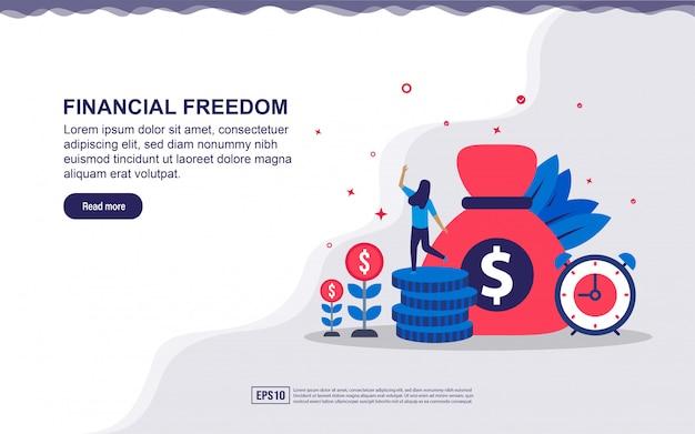 経済的な自由と小さな人々とのビジネスの成功のイラスト。ランディングページ、ソーシャルメディアコンテンツ、広告のイラスト。
