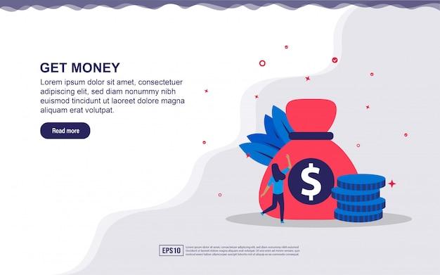お金を得るの図の概念。ボーナス、ビジネス利益を得る。