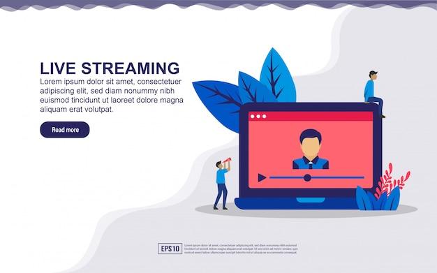 ライブストリーミングの概念図。オンラインでビデオを再生したり、ニュース速報やマルチメディアのコンセプトを見たりします。