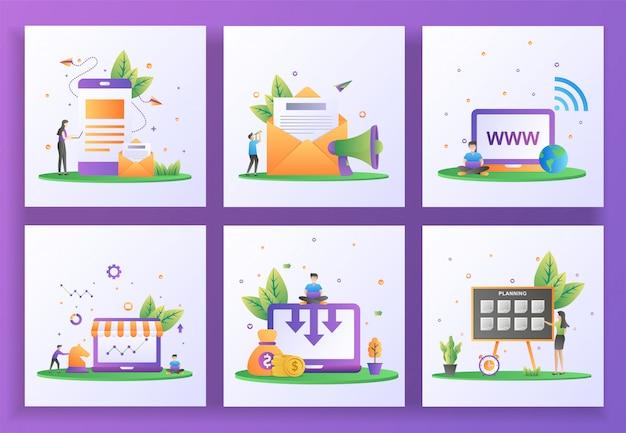 フラットなデザインコンセプトのセット。デジタルマーケティング、メールマーケティング、ウェブサイト、戦略マーケティング、コスト削減、計画