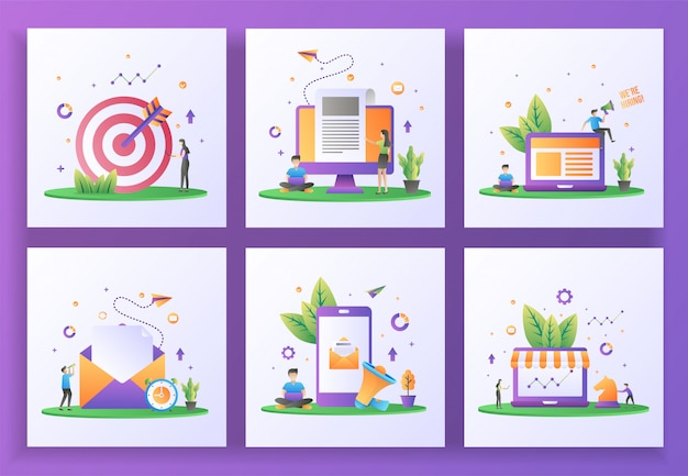 フラットなデザインコンセプトのセット。ターゲット設定、ニュース速報、採用、メール送信、デジタルマーケティング、戦略マーケティング。 、 モバイルアプリ
