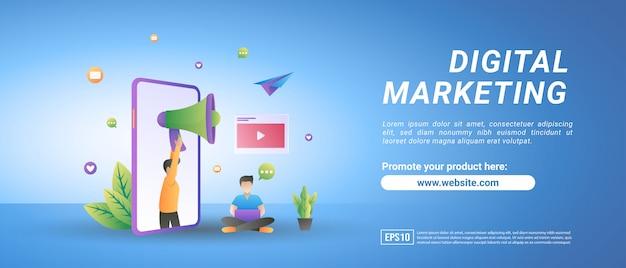 Концепция цифрового маркетинга. люди рекламируют продукты в социальных сетях, обмениваются рекламным видеоконтентом.